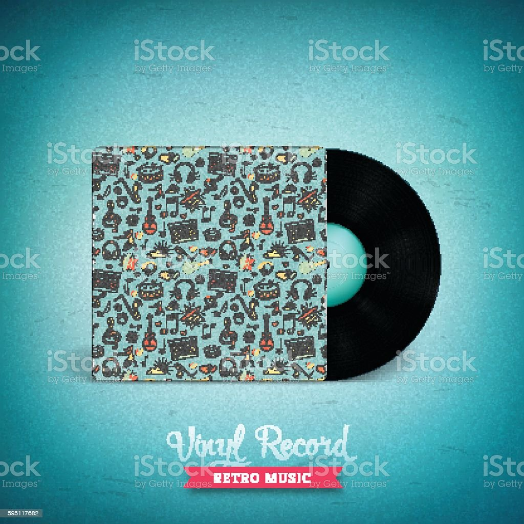 Realistic long-playing LP vinyl record with cover mockup vector art illustration