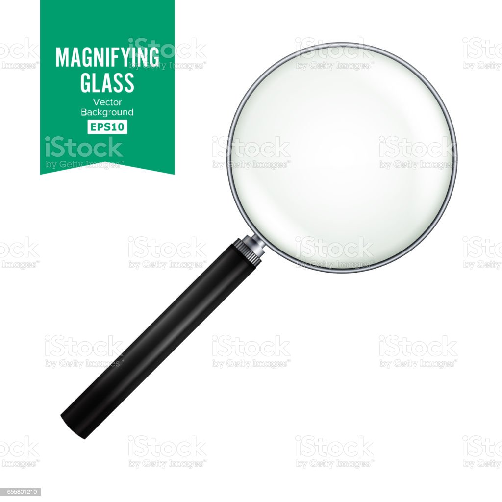 Realistic Magnifying Glass Vector. Isolated On White Background, With Gradient Mesh. Magnifying Glass Object For Zoom vector art illustration