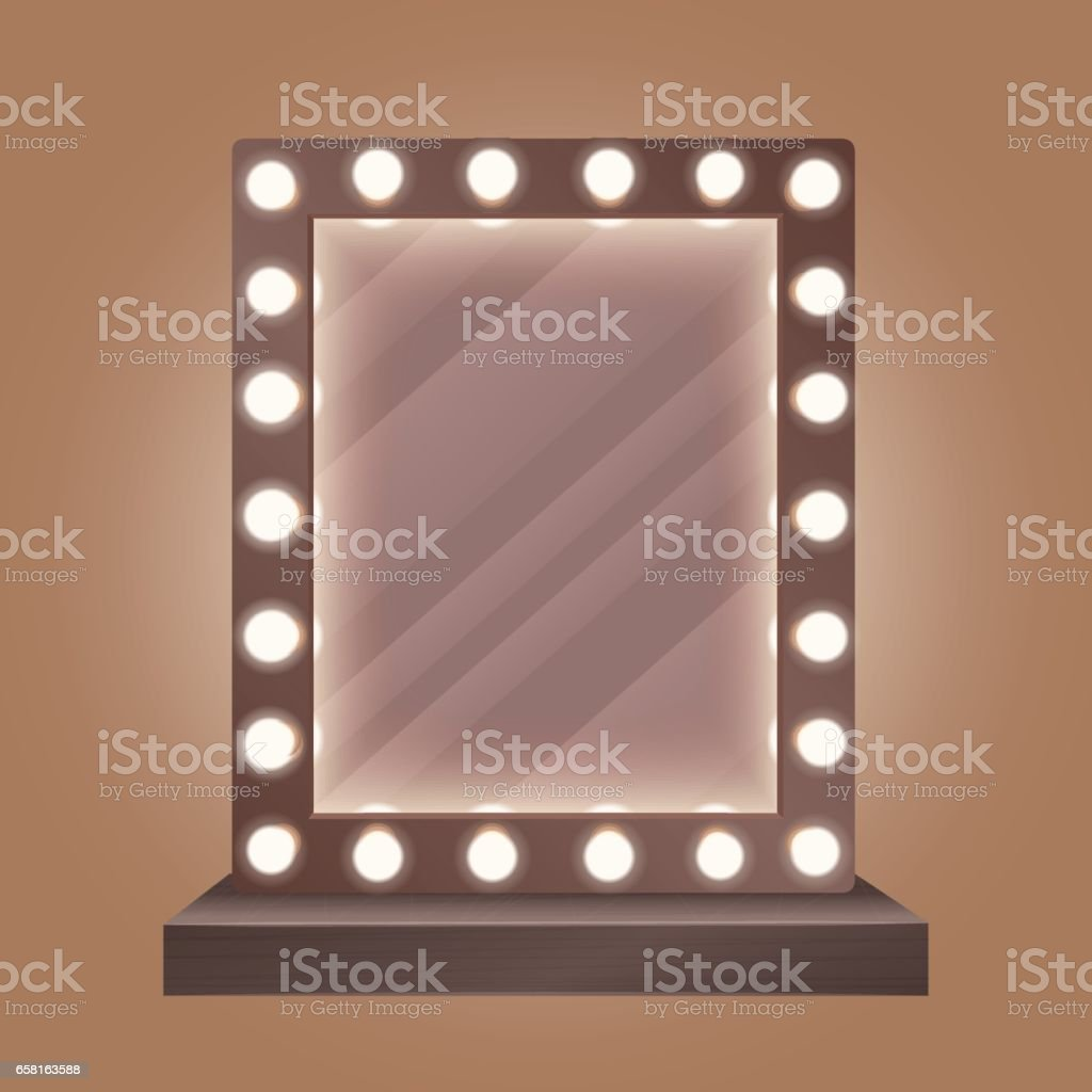 Realistic makeup mirror with bulbs vector illustration. vector art illustration