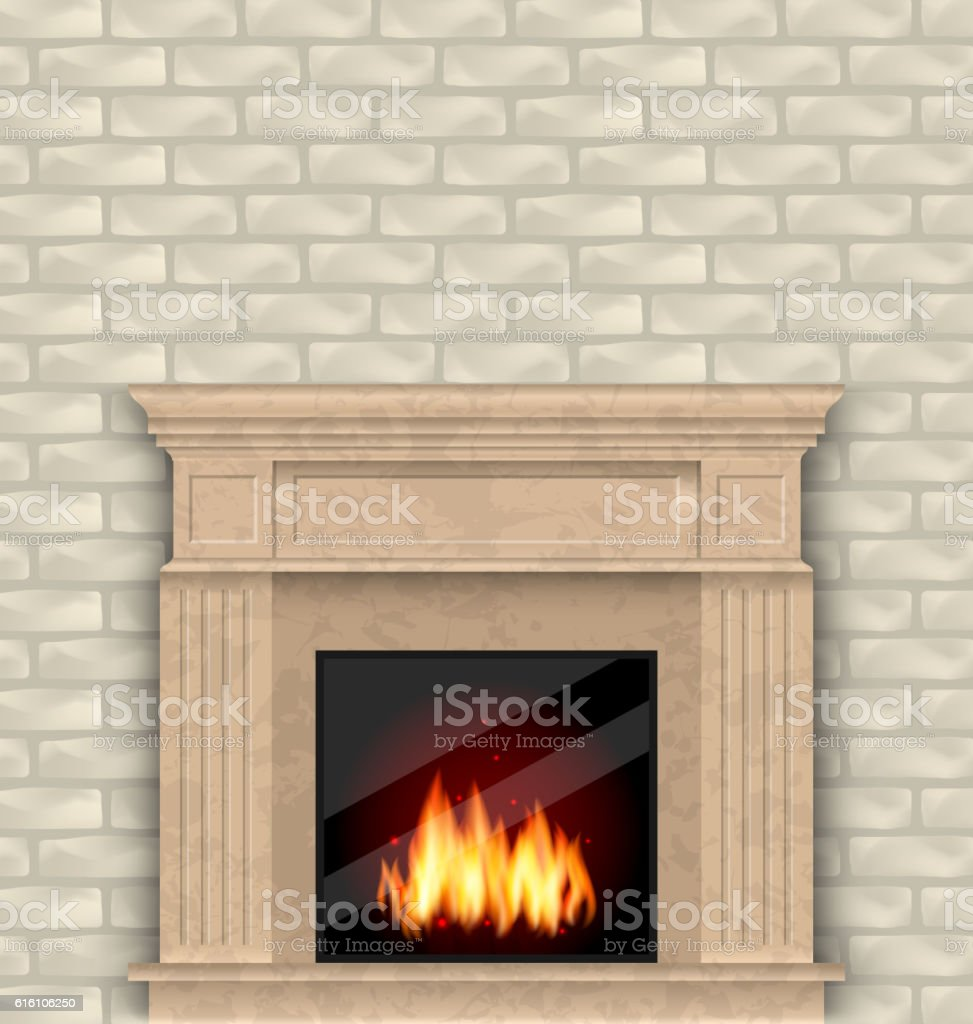 Fire In Wall Part - 49: Realistic Marble Fireplace With Fire In Interior, Brick Wall Royalty-free  Stock Vector Art
