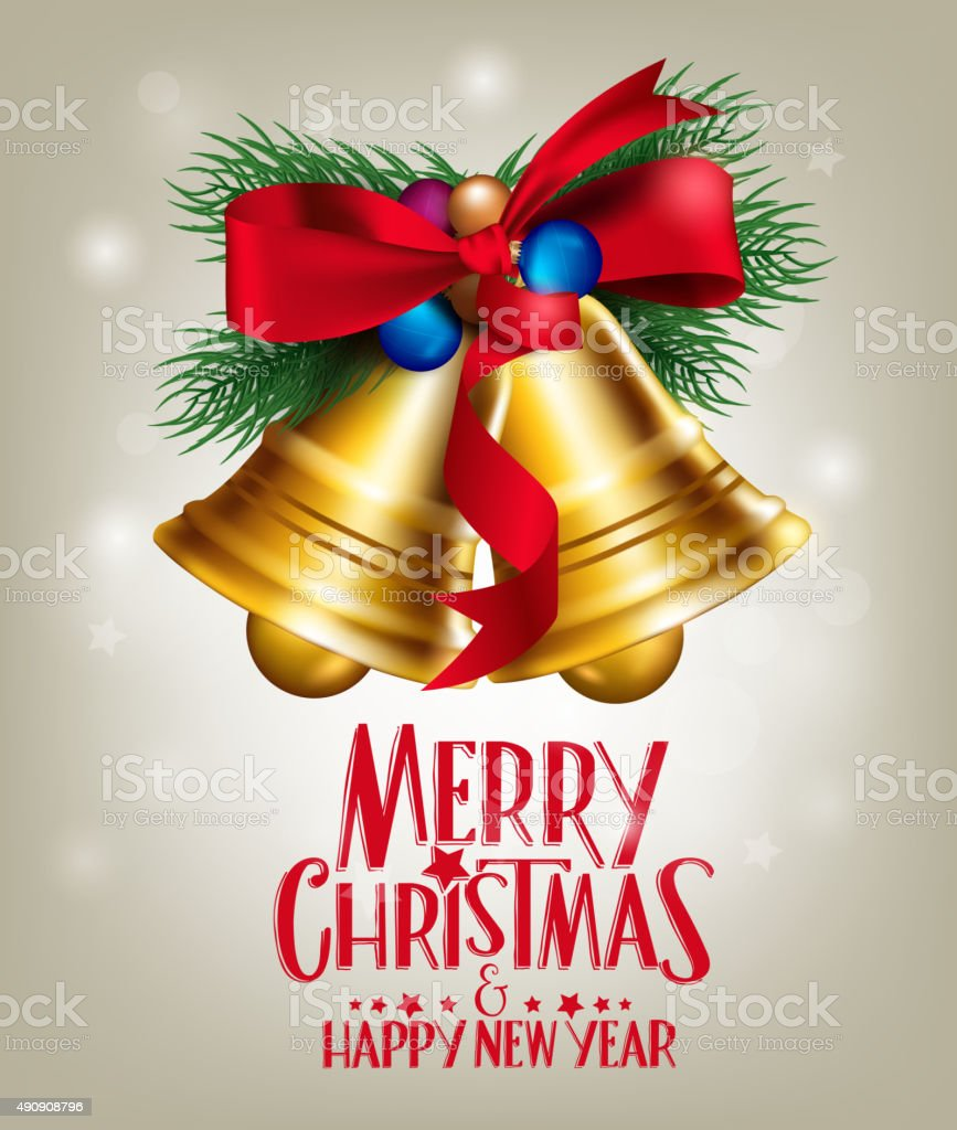 3D Realistic Merry Christmas Bells Hanging with Red Ribbon vector art illustration