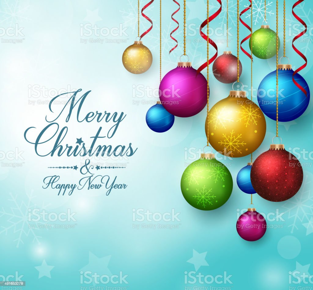3D Realistic  Merry Christmas Greetings with Hanging Christmas Balls vector art illustration