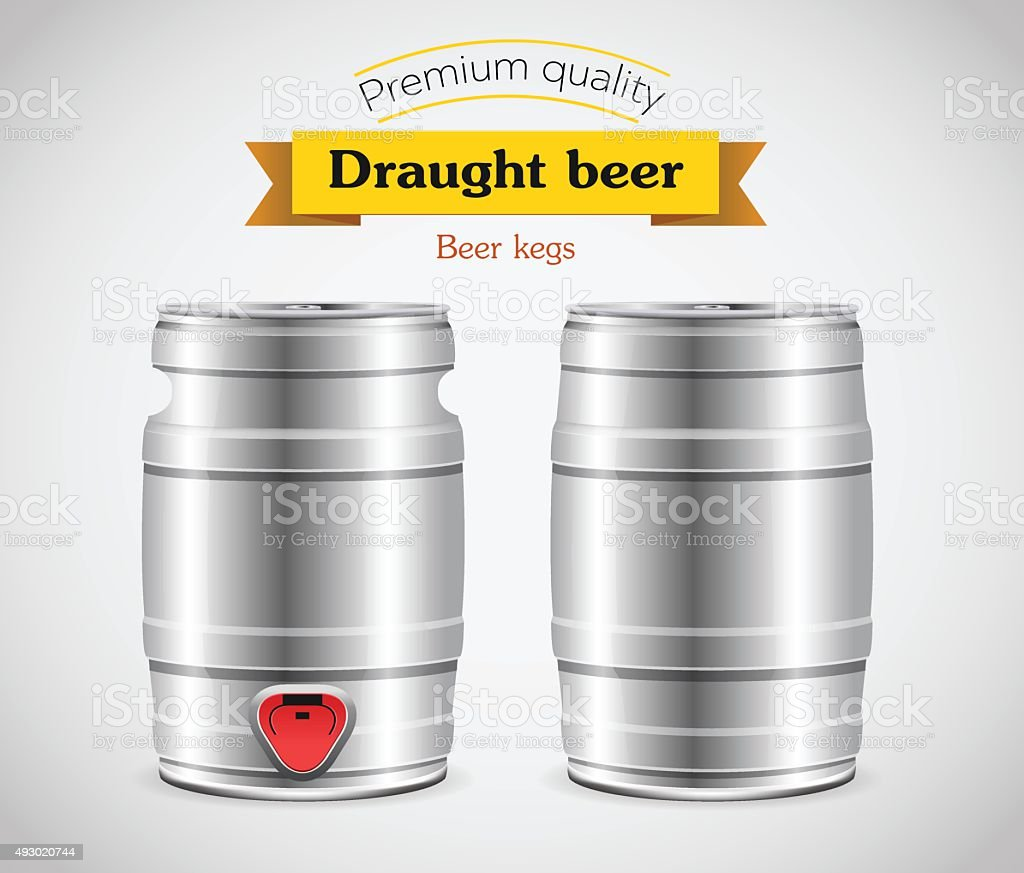 Realistic metal beer keg, vector illustration. vector art illustration