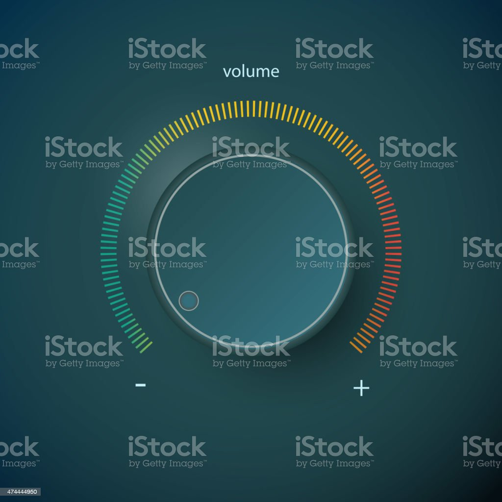 Realistic metal control panel tumbler. Music audio sound volume knob vector art illustration