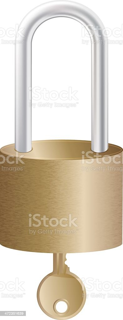 Realistic metal lock and key royalty-free stock vector art