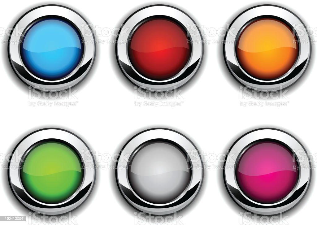 Realistic metallic buttons. royalty-free stock vector art