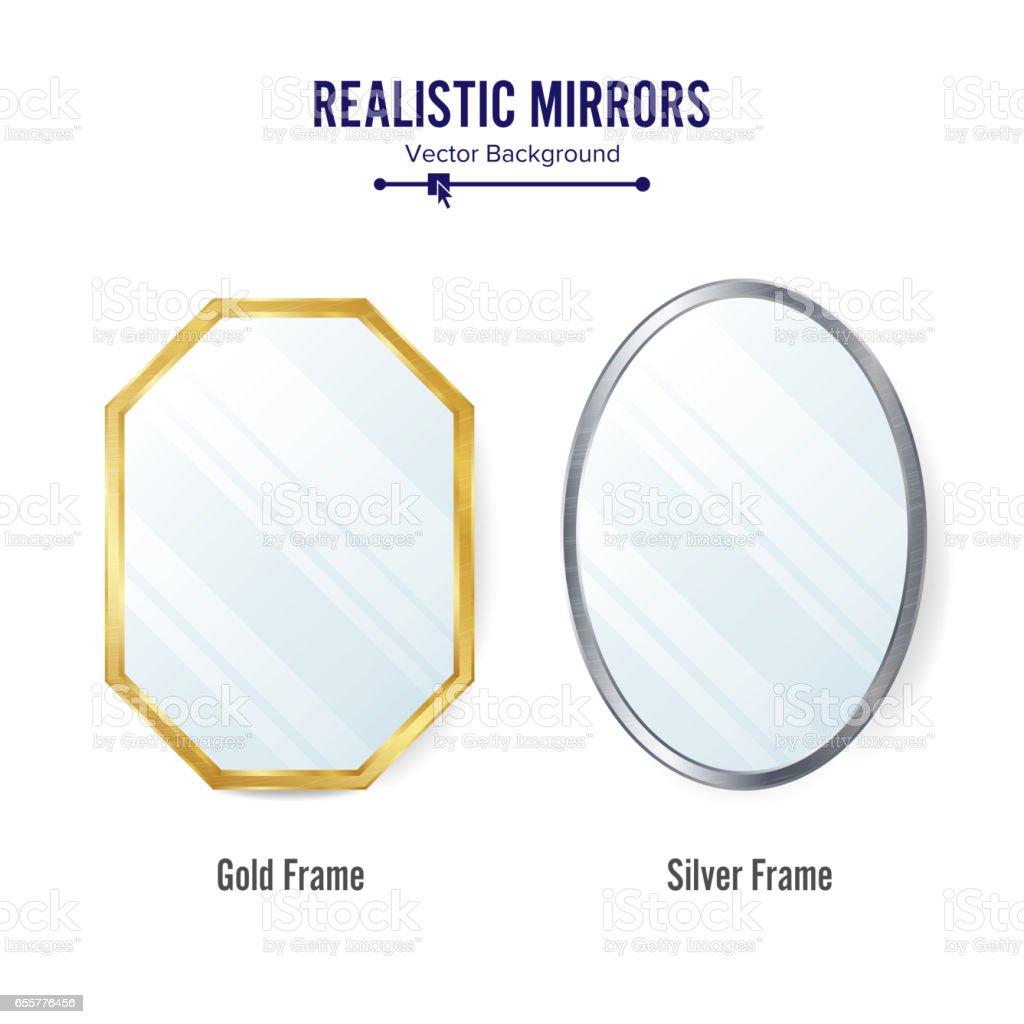 Realistic Mirrors Set Vector. Mirror Frames Or Mirror Decor Interior Illustration vector art illustration
