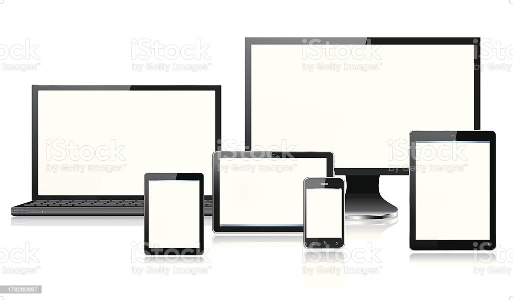 Realistic Mobile Computer Devices Laptop Monitor Screen Smartphone Tablet Mini royalty-free stock vector art