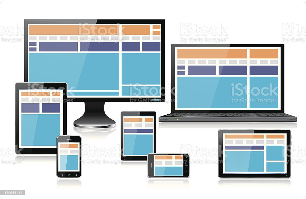 Realistic Mobile Computer Devices showing Fully Responsive Web Design Orange royalty-free stock vector art