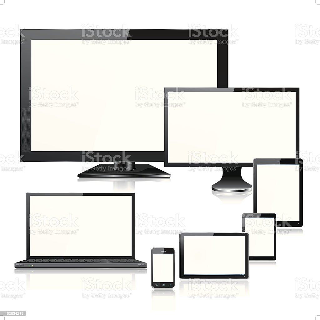 Realistic Mobile Computer Devices TV Laptop and Screens vector art illustration