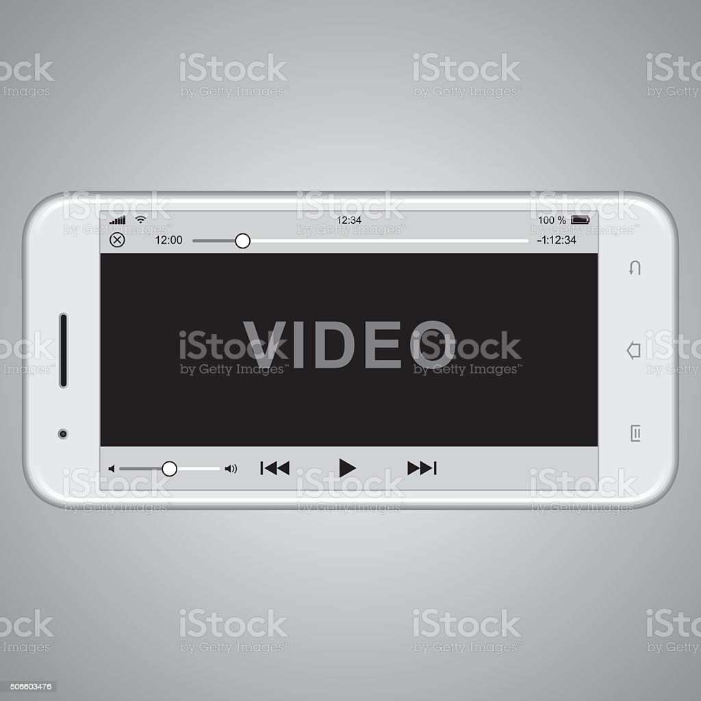 Realistic mobile phone template for video cover vector art illustration