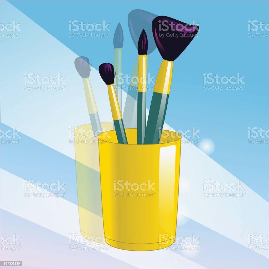 Realistic mockup glass and makeup brushes. Vector illustration. vector art illustration