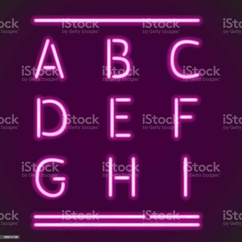 Realistic Neon Alphabet 1 royalty-free stock vector art