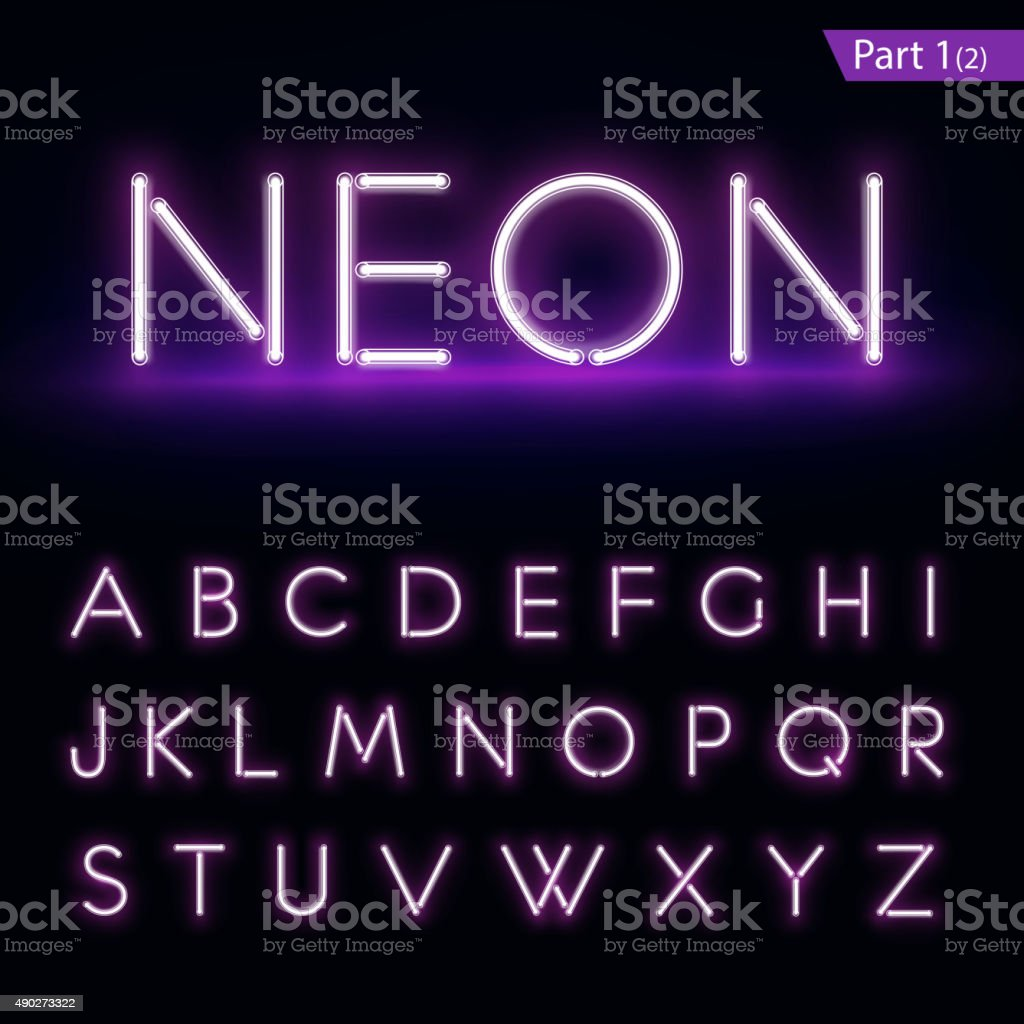 Realistic neon alphabet. Purple glowing font. Vector format part 1 vector art illustration