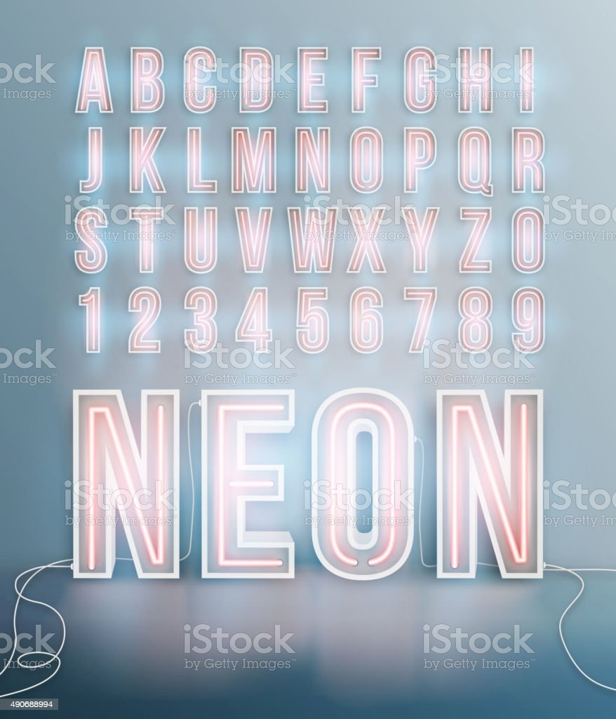 Realistic neon font alphabet vector vector art illustration