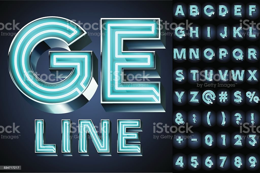 Realistic neon tube alphabet for light board vector art illustration