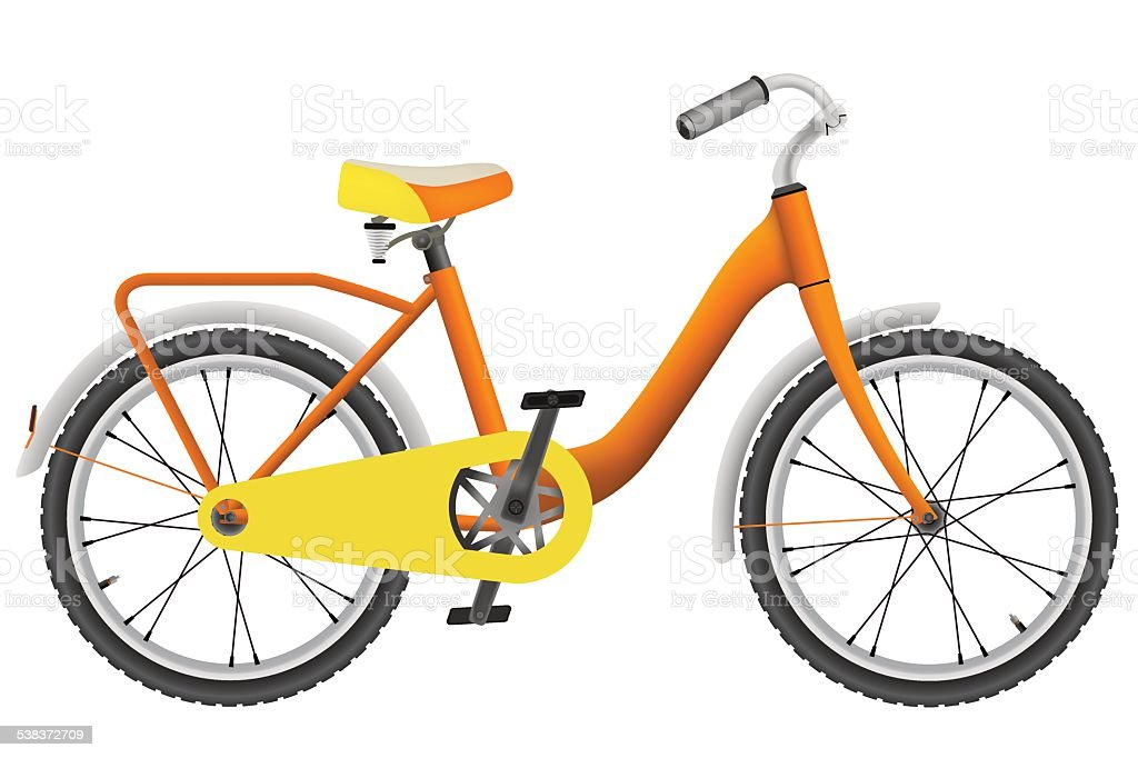 Realistic orange childrens bike for boys vector art illustration