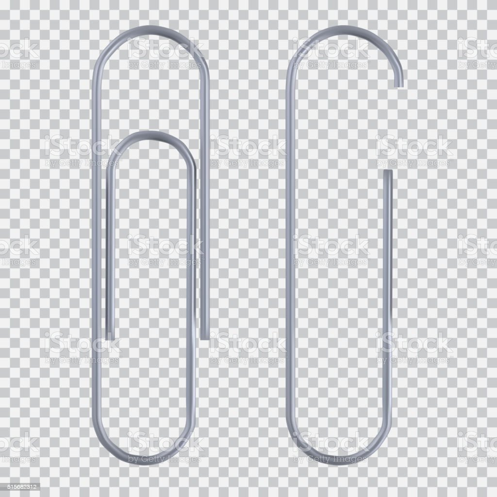 Realistic paper clip vector art illustration