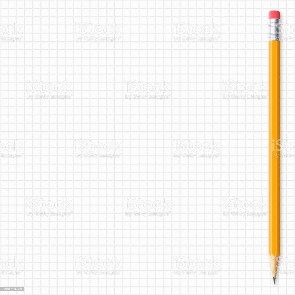 Realistic pencil isolated on grid paper vector art illustration