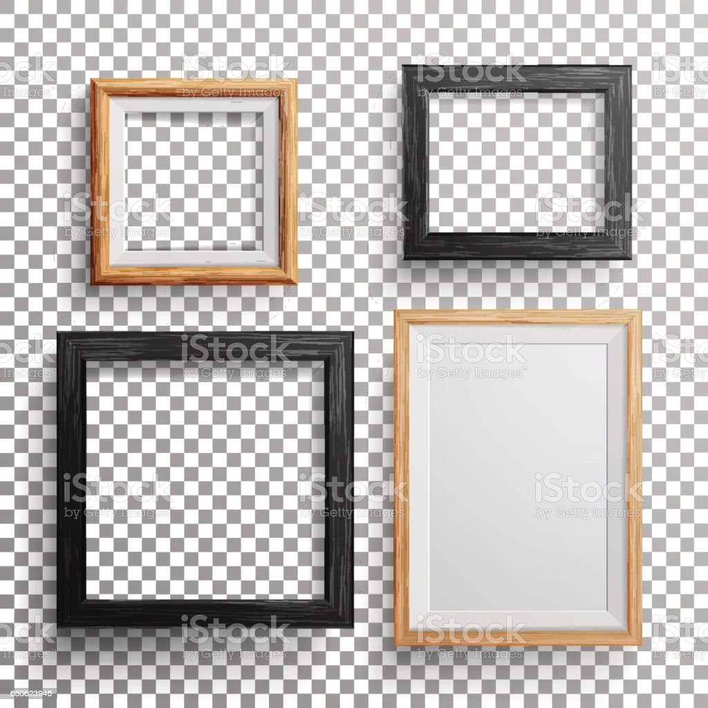Wood frames set free vector - Realistic Photo Frame Vector 3d Set Square A3 A4 Sizes Light Wood Blank