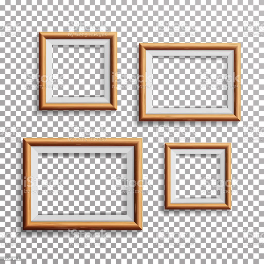 Wood frames set free vector - Realistic Photo Frame Vector Set Square A3 A4 Sizes Light Wood Blank Picture