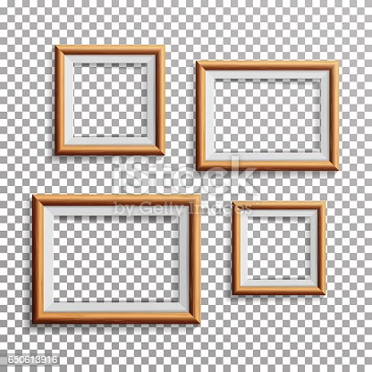 realistic photo frame vector set square a3 a4 sizes light wood blank picture frame hanging on transparent background from the front design template for mock