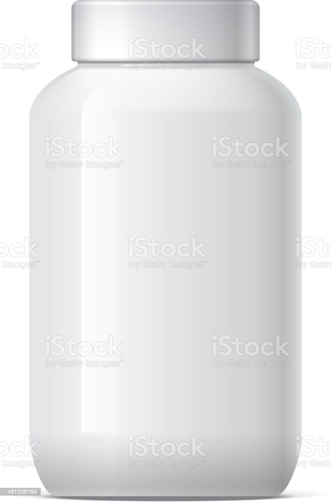 Realistic Plastic Jar with Lid vector art illustration