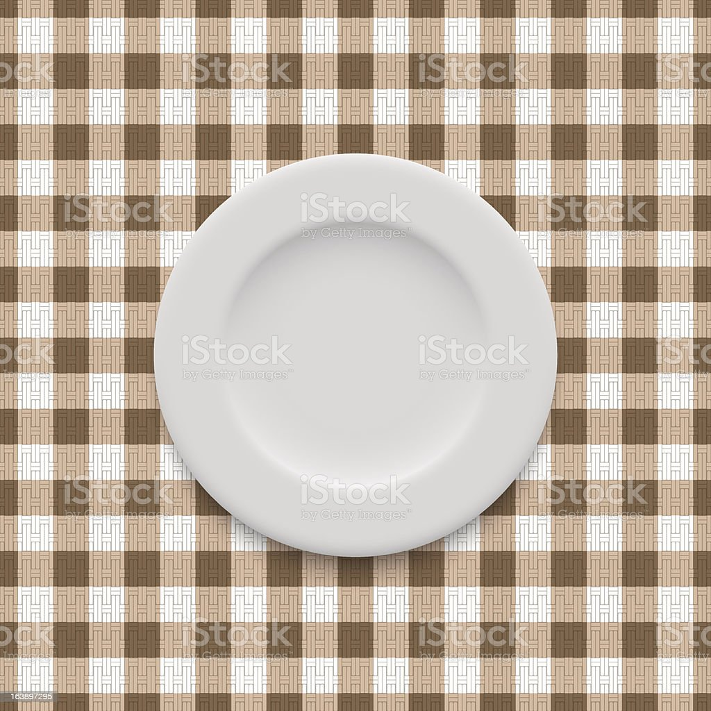 realistic plate on the tablecloth royalty-free stock vector art