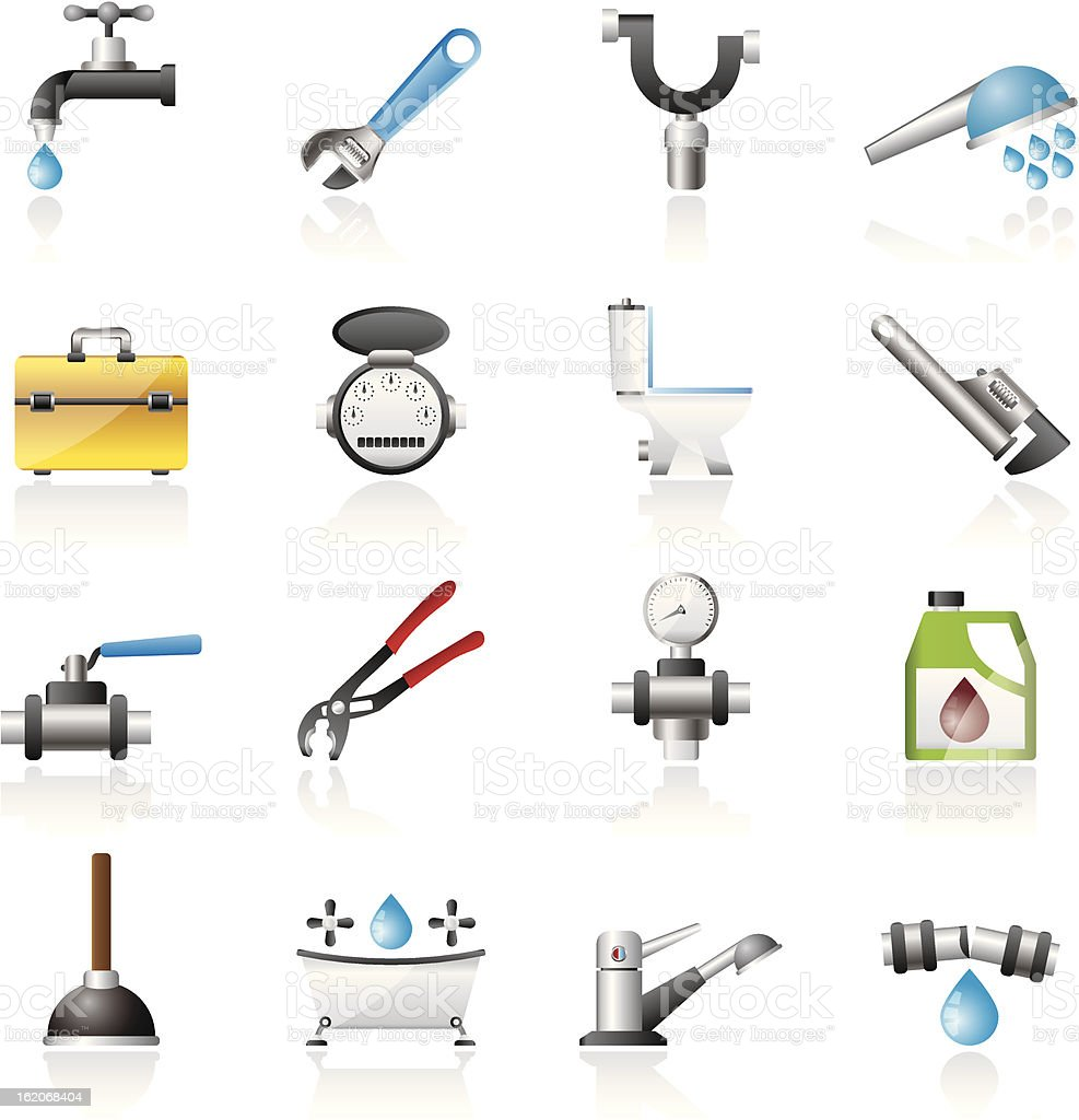 realistic plumbing objects and tools icons royalty-free stock vector art