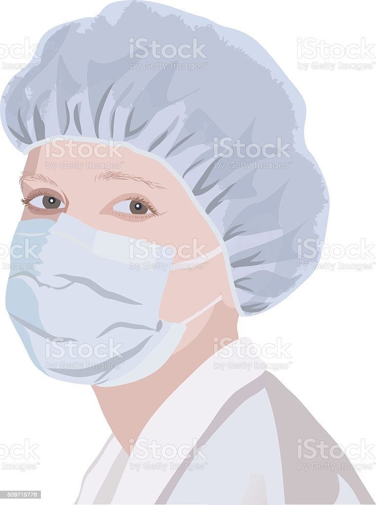 Realistic portrait of a nurse in the mask and cap vector art illustration