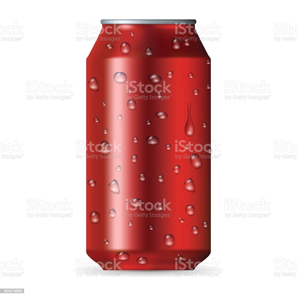 Realistic red aluminum can with drops vector art illustration