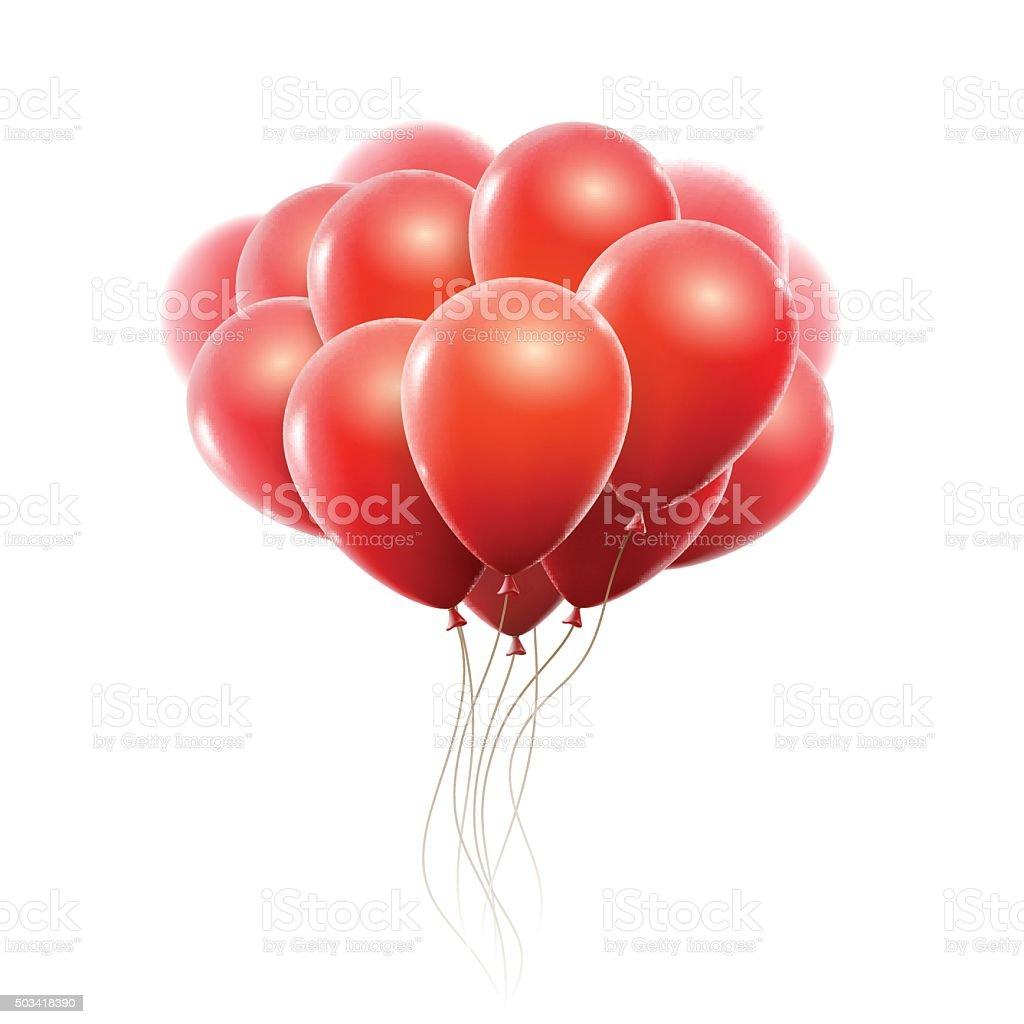 Realistic red balloons vector art illustration