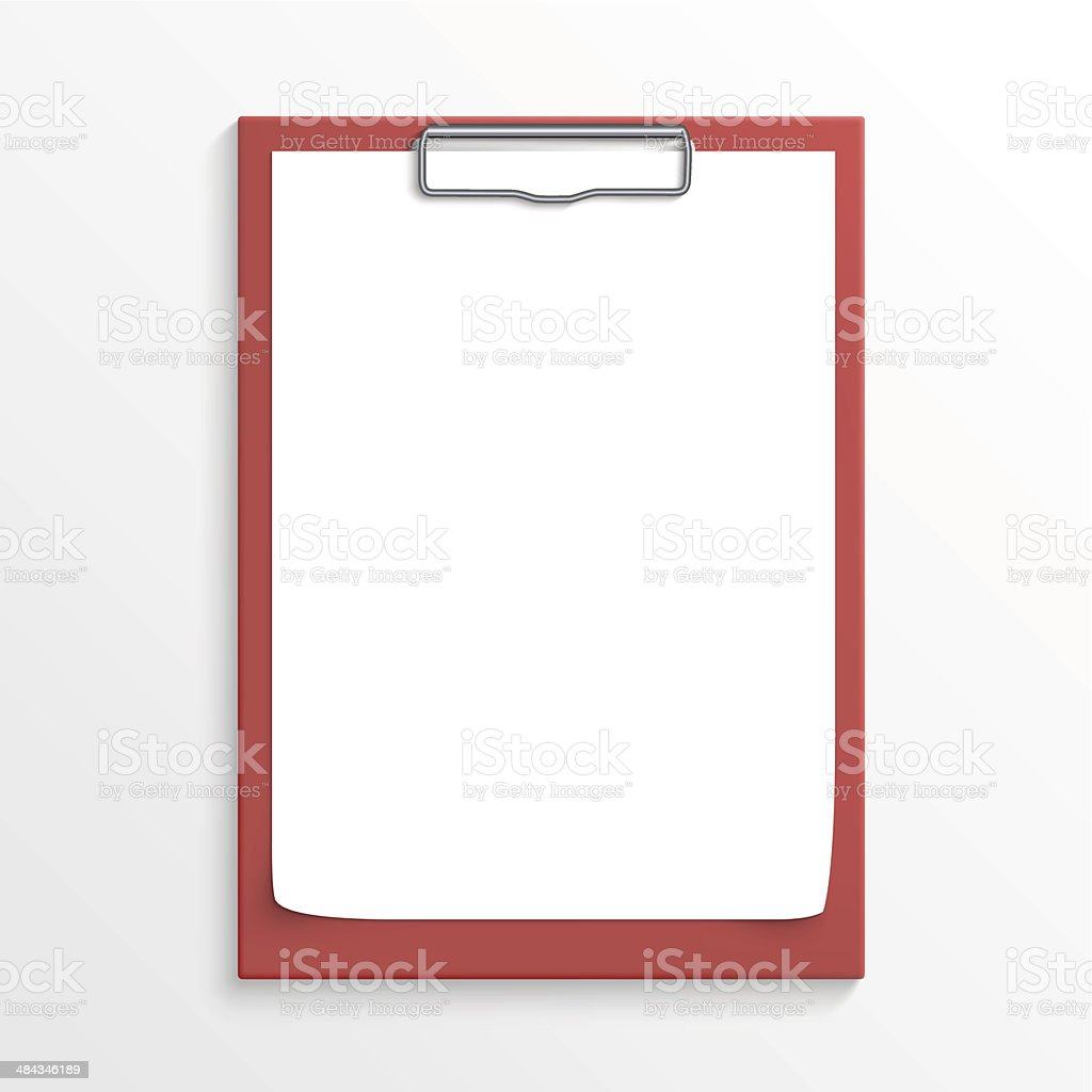 Realistic red clipboard vector art illustration