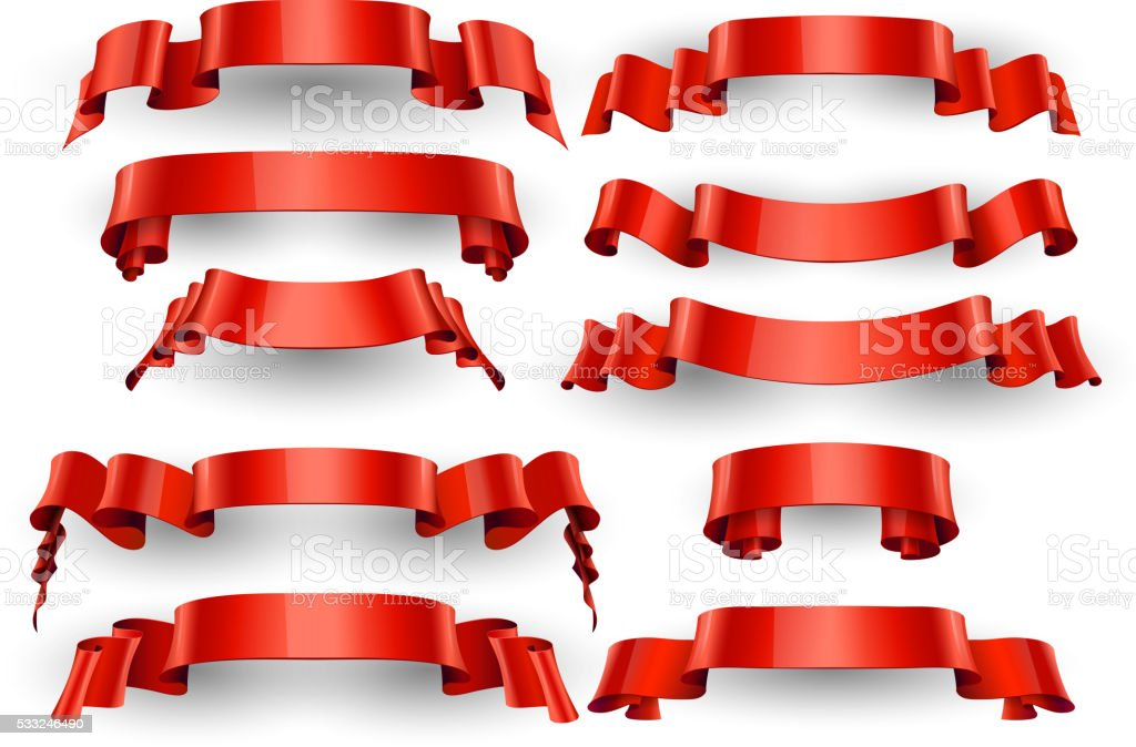 Realistic Red Glossy vector ribbons. Large set. vector art illustration
