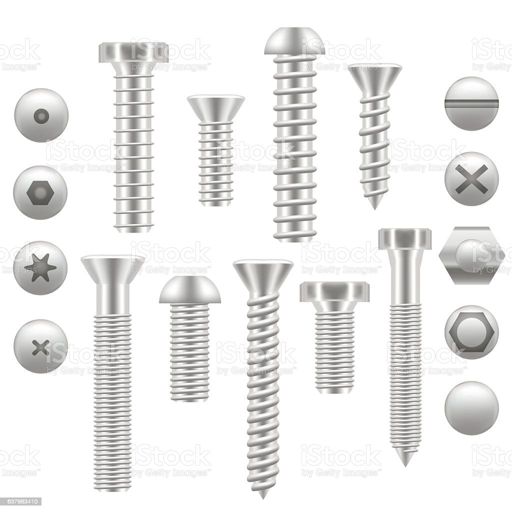 Realistic Screw Icon Set Different Shapes. Vector vector art illustration
