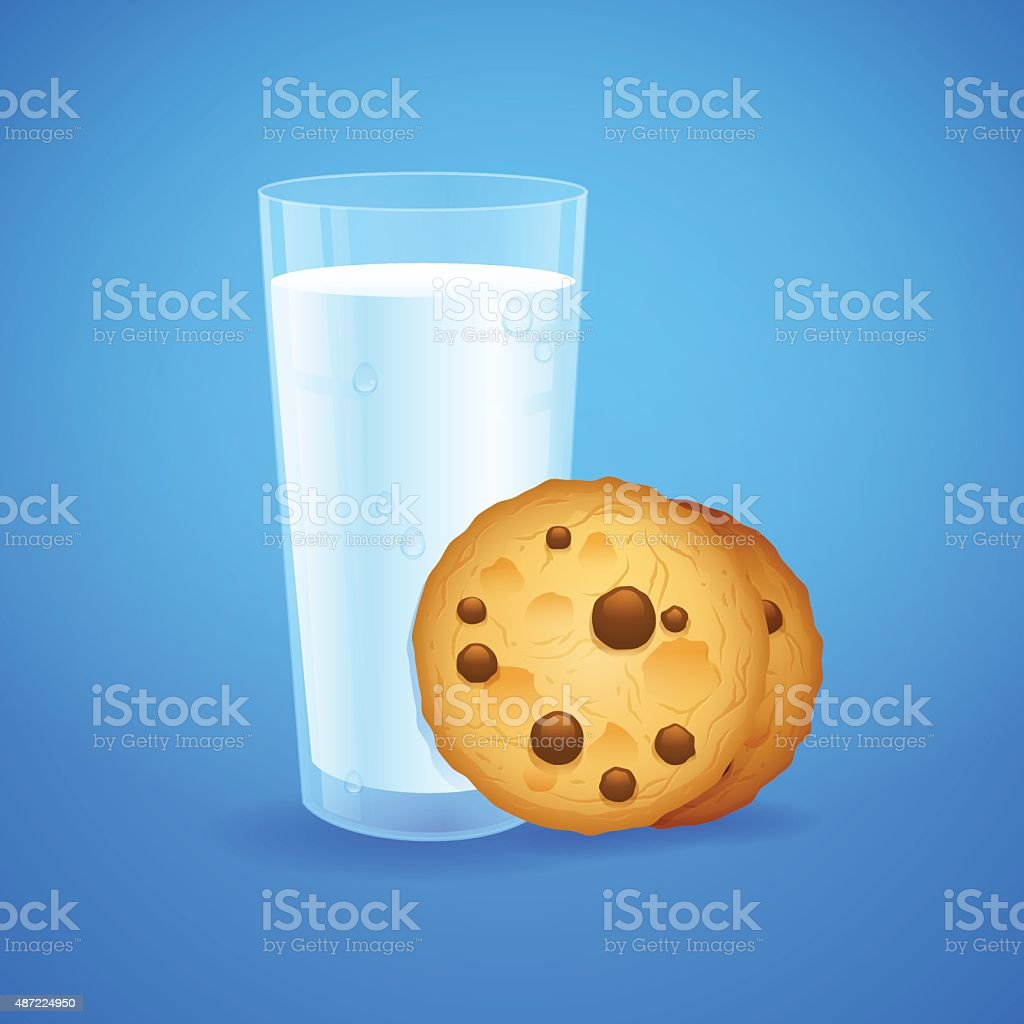 Realistic set glass of milk and baked oatmeal cookies vector art illustration