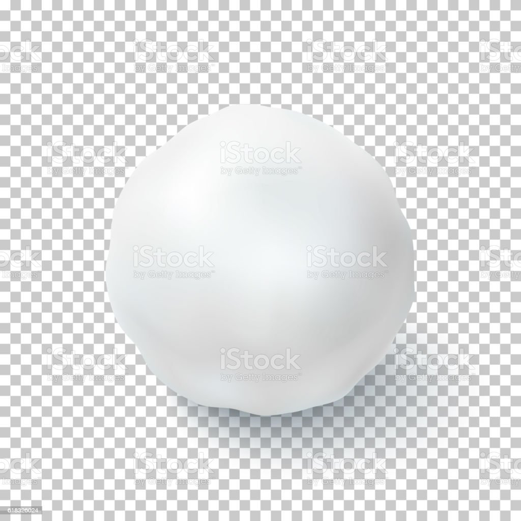 Realistic snow ball isolated on transparent background. vector art illustration