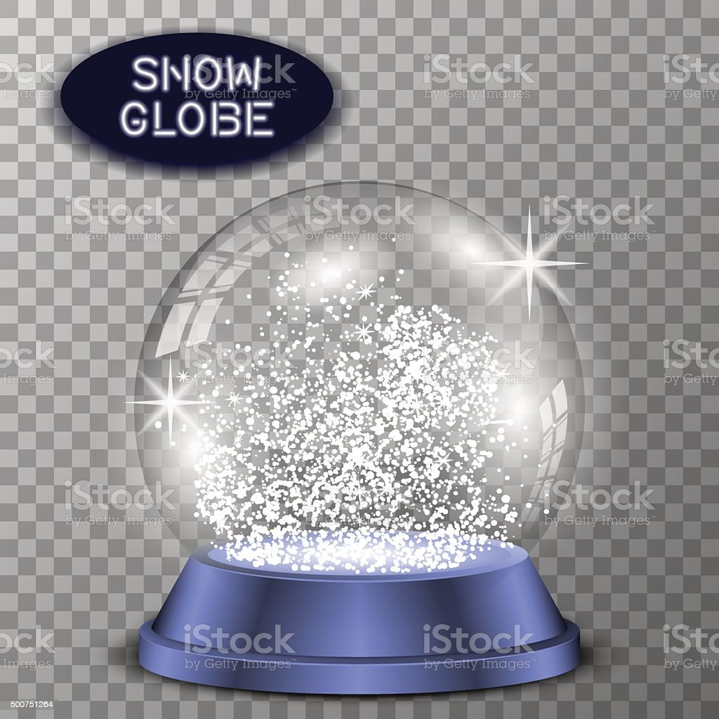 Realistic snow globe transparent and isolated for design. Vector eps10. vector art illustration