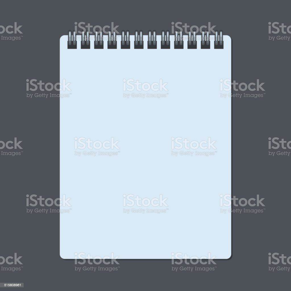 Realistic Spiral Notepad Notebook Isolated on Dark. Vector royalty-free stock vector art