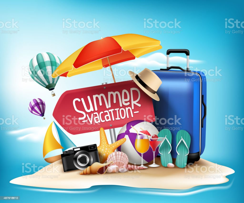 3D Realistic Summer Vacation Poster Design for Travel vector art illustration