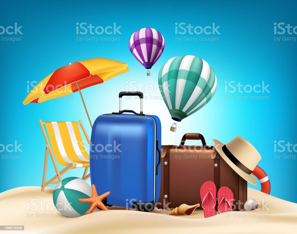 3D Realistic Summer Vacation Poster Design with Bags vector art illustration