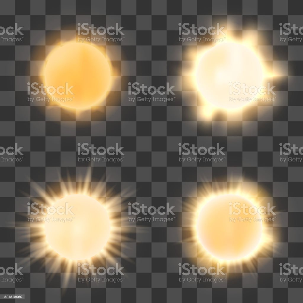Realistic sun on transparent background vector art illustration