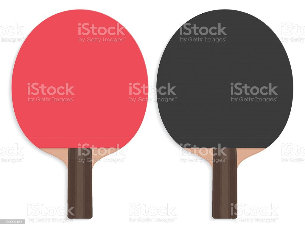 Realistic table tennis bats, red and black part vector art illustration