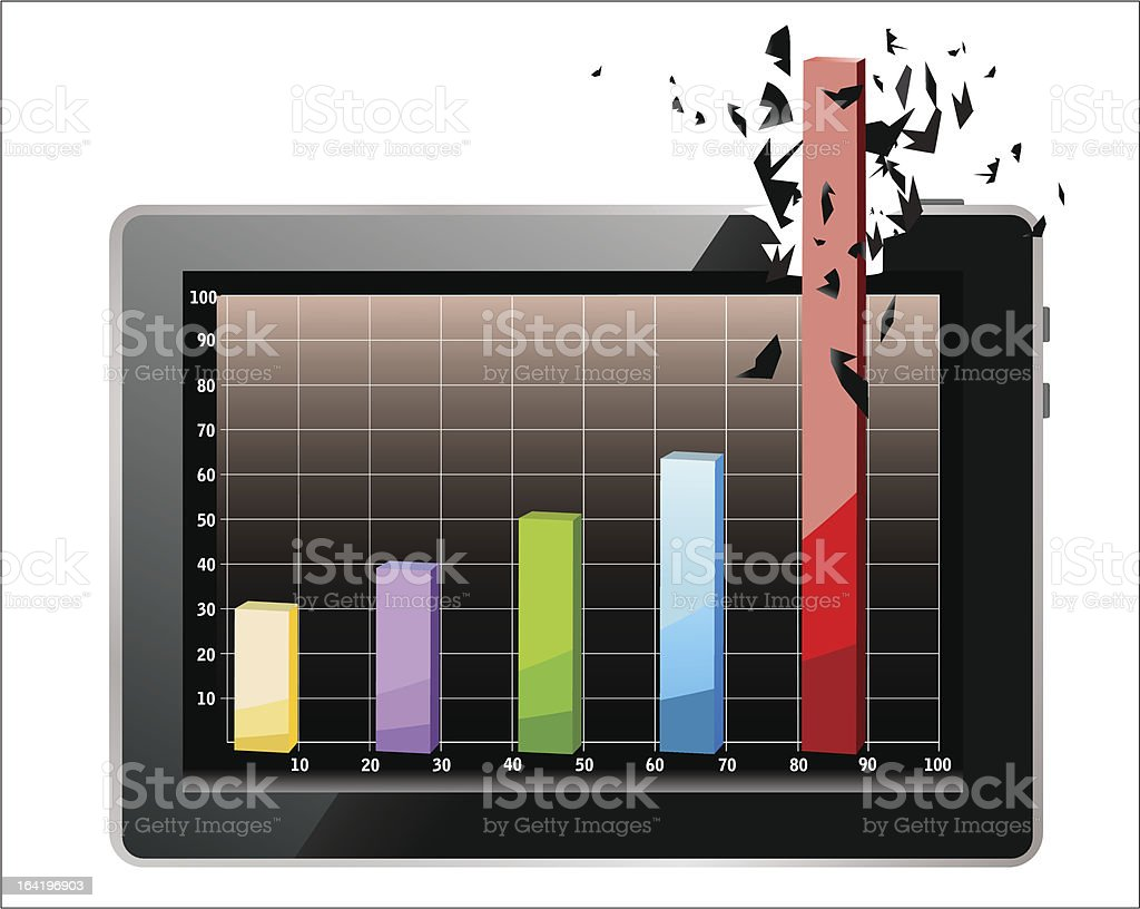 Realistic tablet pc computer profit concept. royalty-free stock vector art