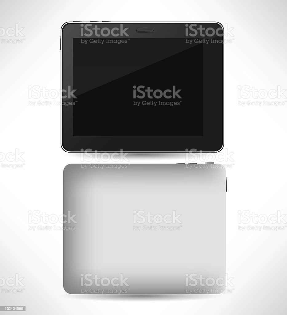 Realistic tablet pc computer with blank screen isolated royalty-free stock vector art
