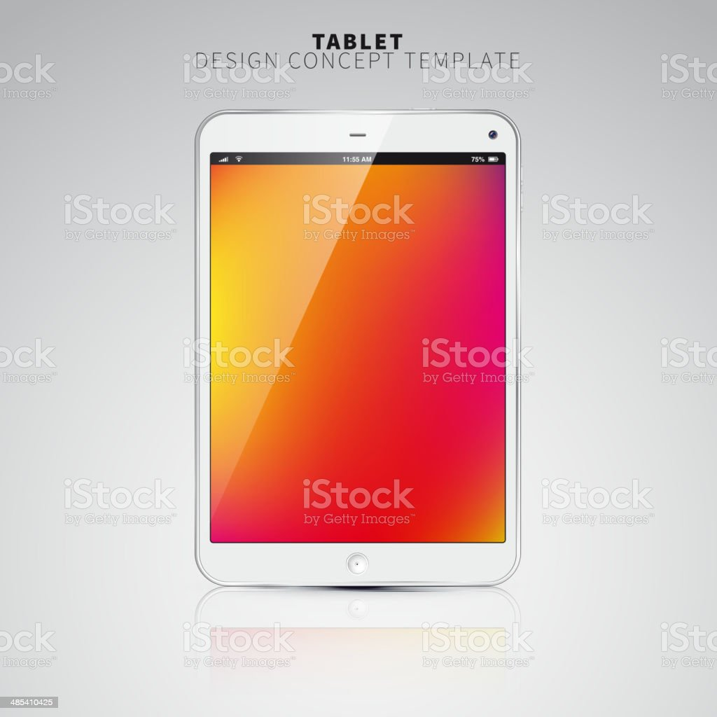 Realistic Tablet PC With color Screen. Vertical, White. vector art illustration
