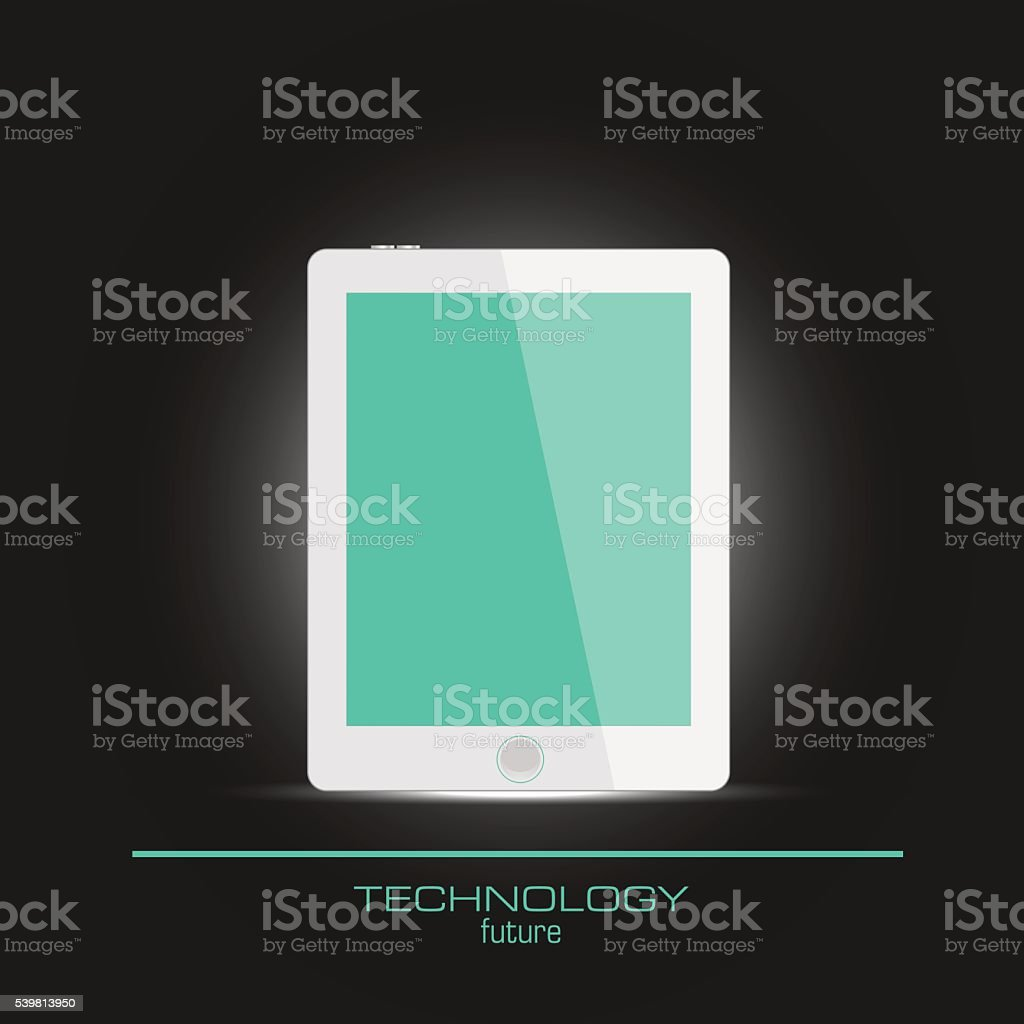 Realistic tablet  with empty screen vector art illustration