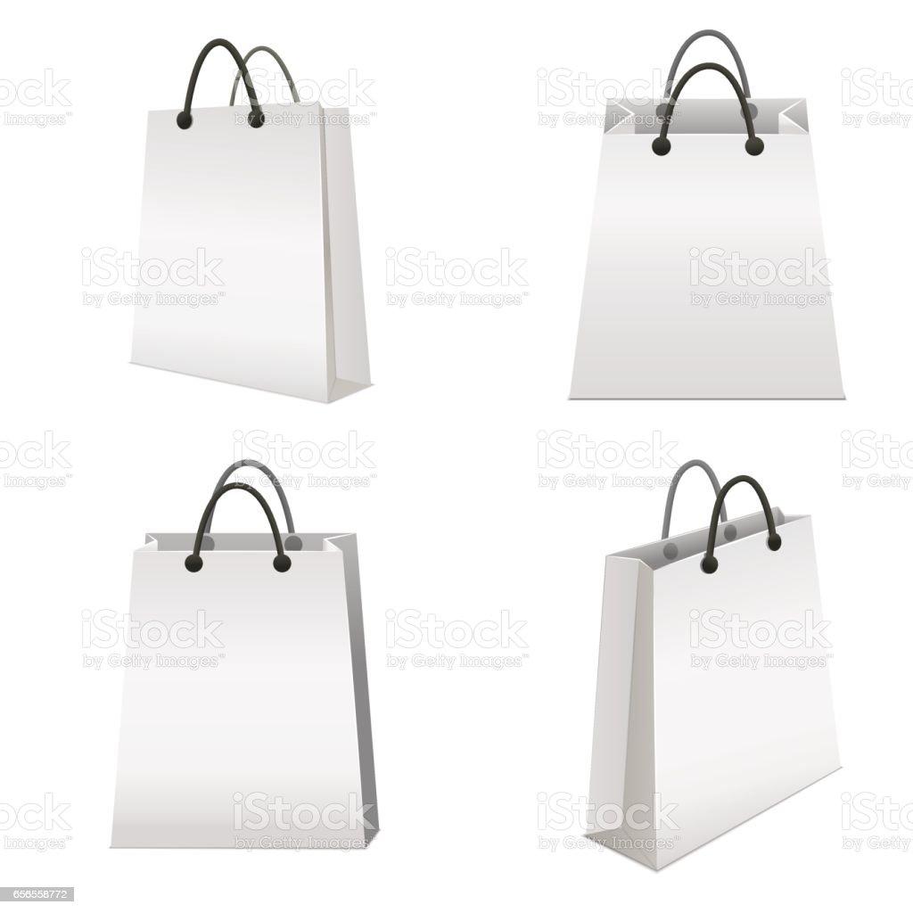 Realistic Template Blank White Paper Bag Set. Vector vector art illustration