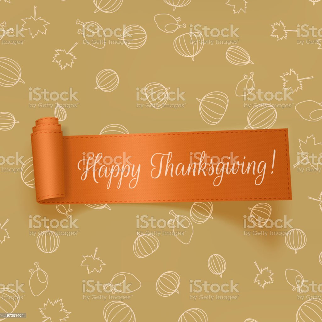 Realistic Thanksgiving greeting Card with Ribbon vector art illustration