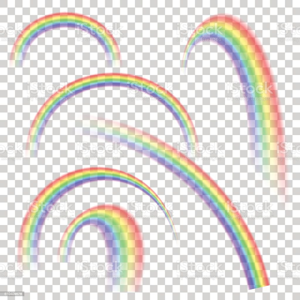 Realistic transparent rainbow set in different shapes. Vector background. vector art illustration